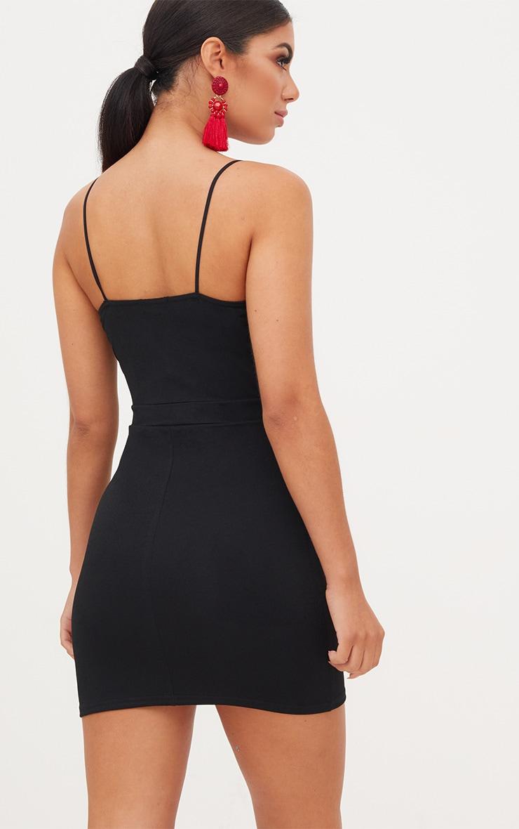 Black Plunge Cut Out Bodycon Dress 2