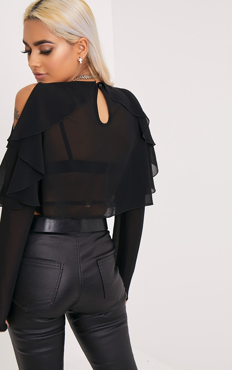 Audlia Black Ruffle Cold Shoulder Cropped Woven Blouse 2