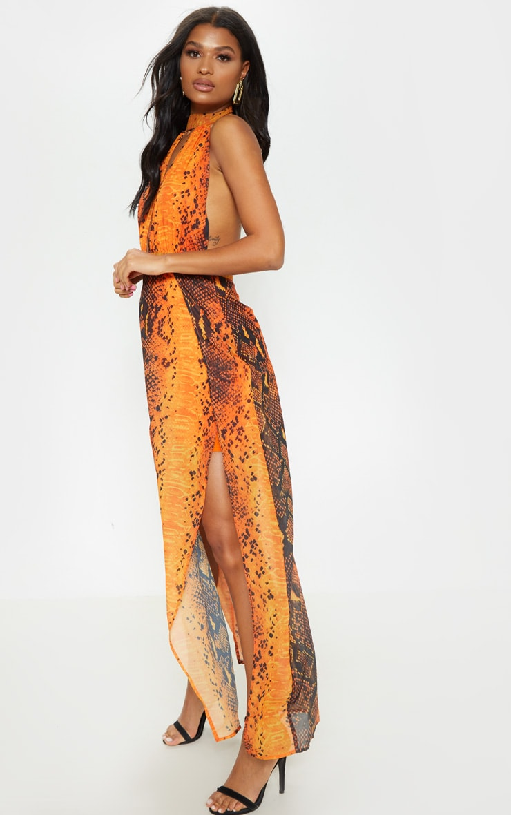 Leala Orange Snake Print Maxi Dress 4