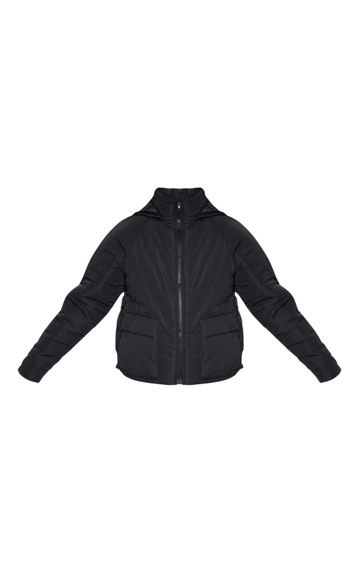 Black Basic Hooded Puffer 5