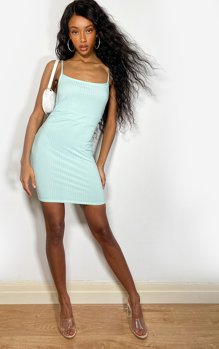 Mint Ribbed Strappy Back Bodycon Dress 3