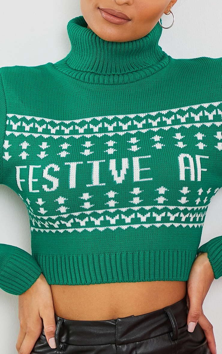 Green Festive Af Fairisle Crop Christmas Jumper 4