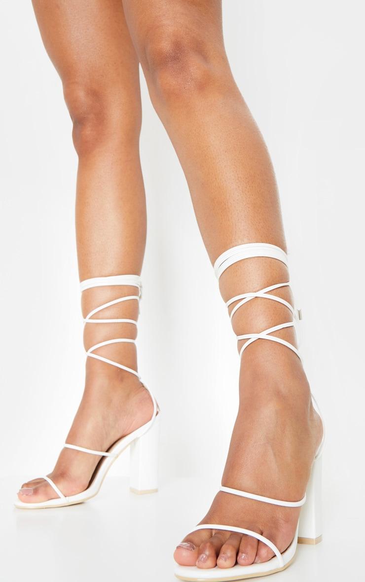 White Delicate Strap Block Heel Ankle Tie Sandal 2
