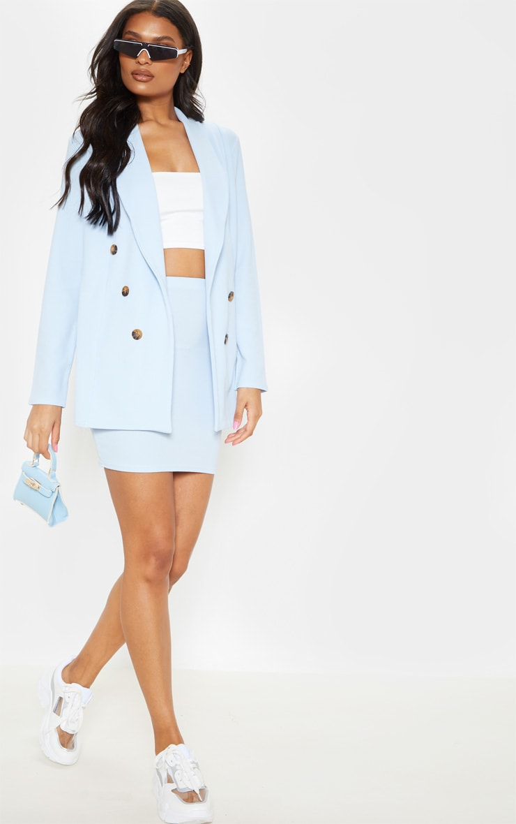 Baby Blue Oversized Button Detail Blazer  4
