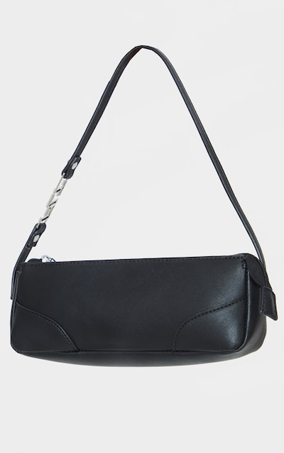 Black PLT Handle PU Baguette Shoulder Bag