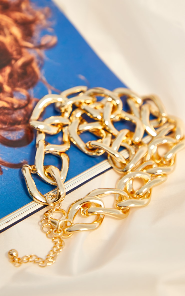 Gold Oversized Chunky Chains Necklace 3