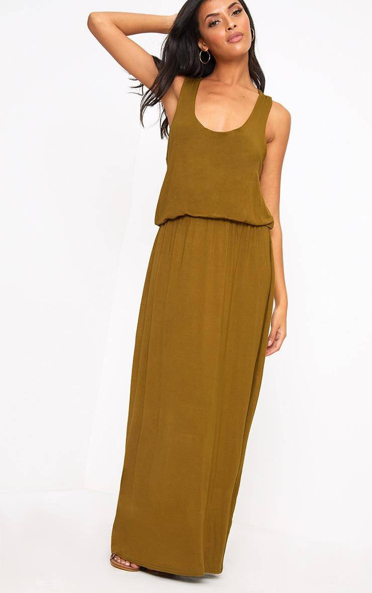 Dark Olive Bagged Over Maxi Dress 2