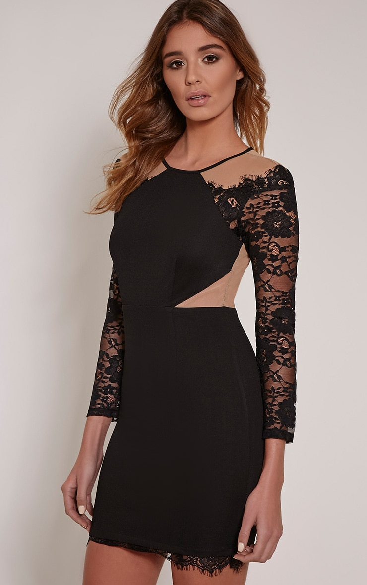 eaada8d1c4 Zoe Black Lace Detail Mini Dress
