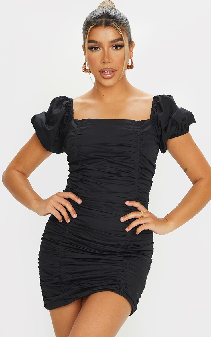 Black Square Neck Ruched Front Short Sleeve Bodycon Dress 1