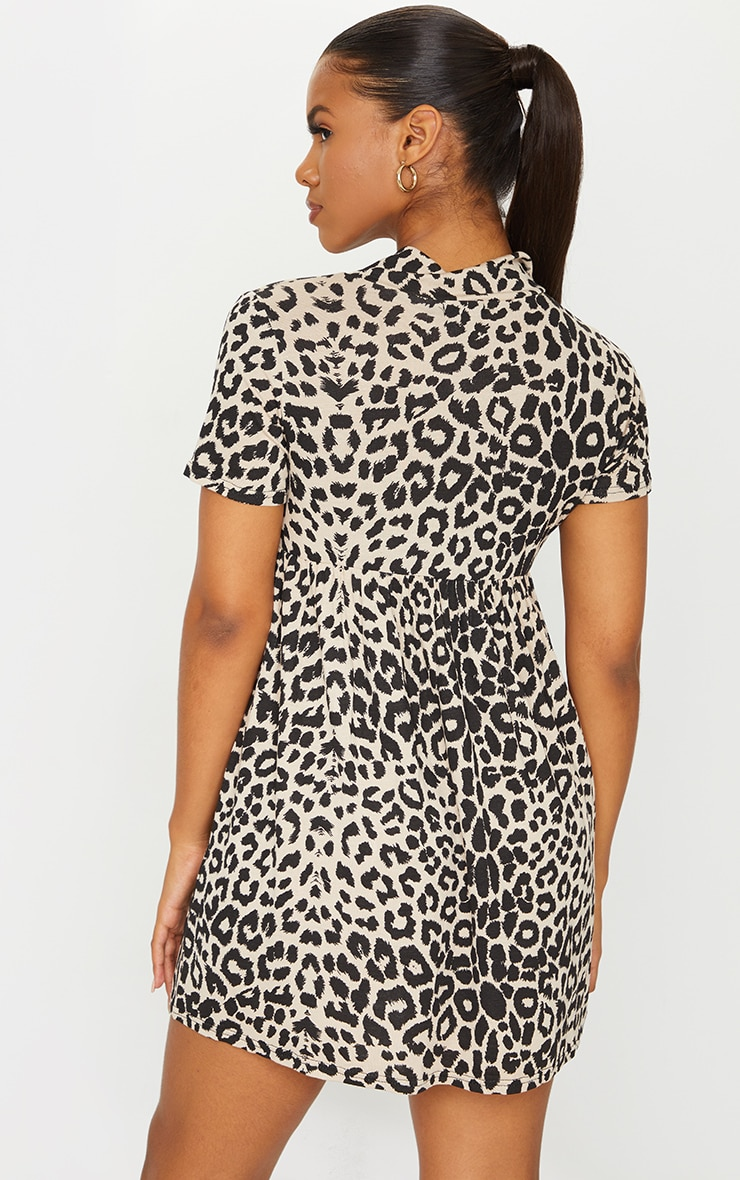 Brown Leopard Print V Neck Smock Dress 2