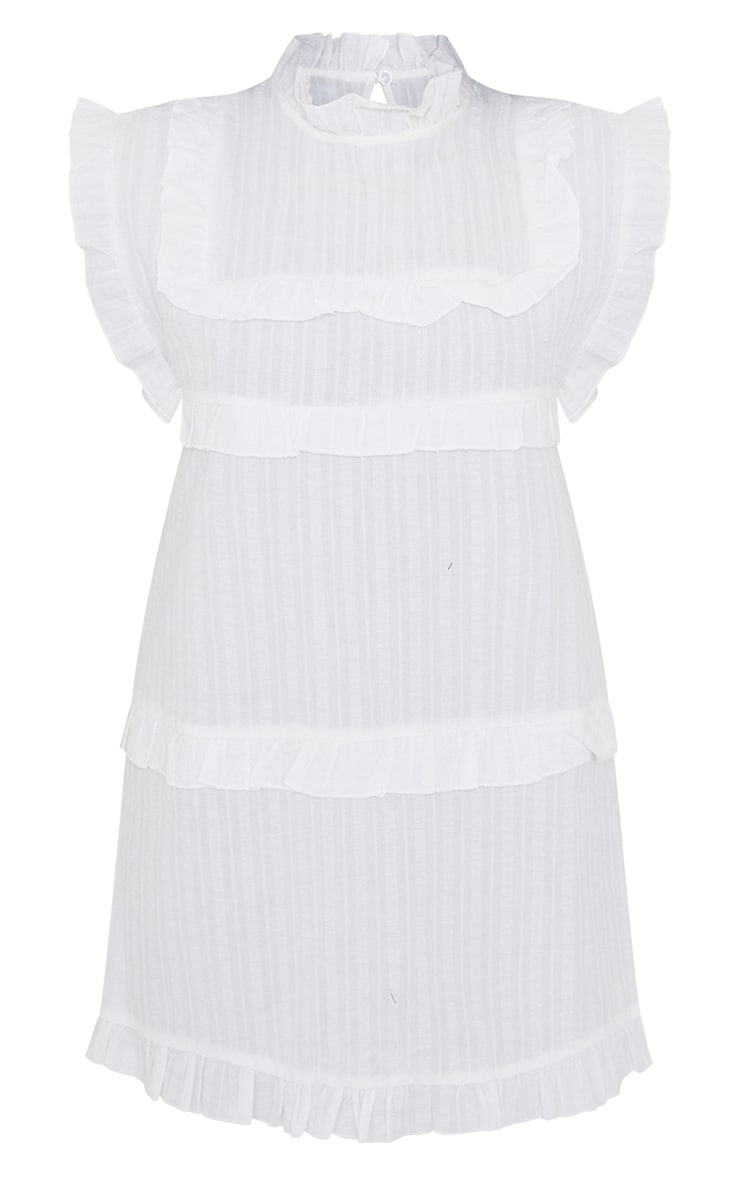 White Textured Frill Tiered Detail Cap Sleeve Shift Dress 5