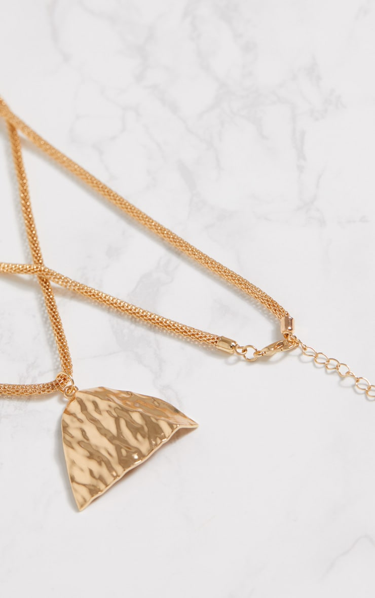 Gold Long Chain Triangle Pendant Necklace 4