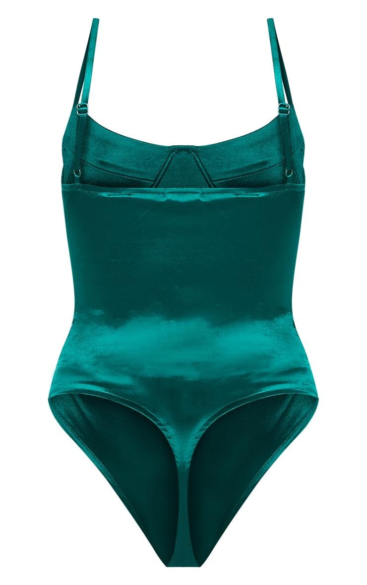 Body lingerie stretch satiné vert émeraude 4