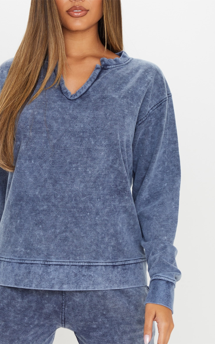 Navy V Neck Long Sleeve Washed Sweater 5