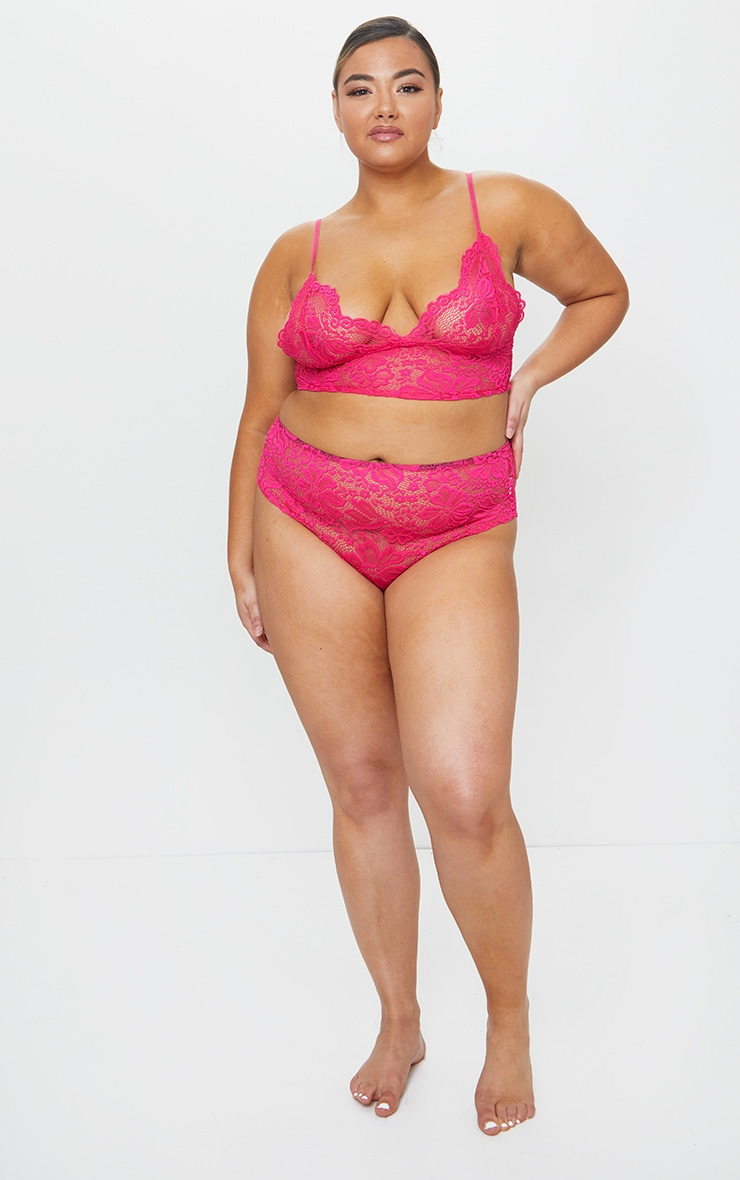 Plus Hot Pink Lace Longline Bra 3