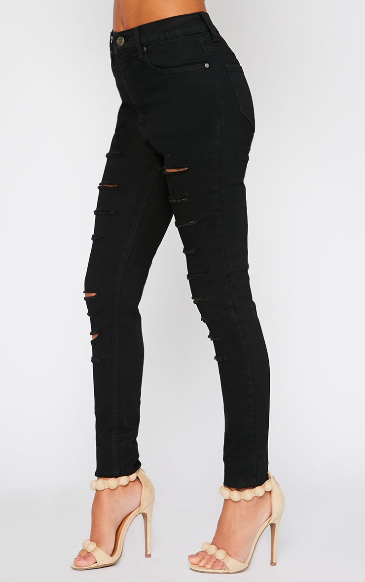 Blossom Black Mid Rise Slashed Skinny Jean 3
