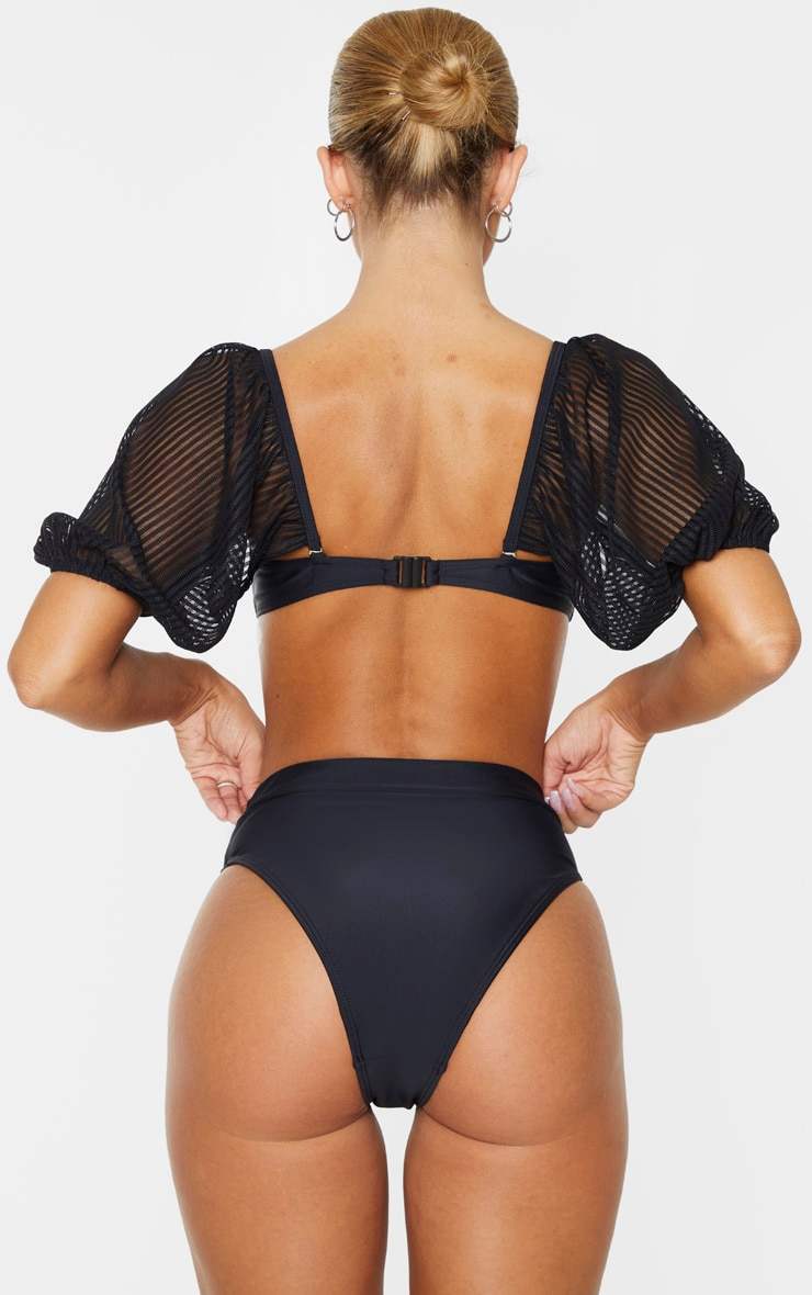 Black High Waist High Leg Bikini Bottom 4
