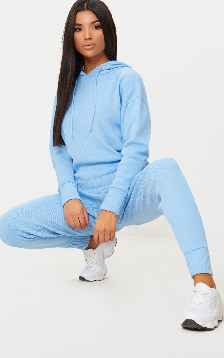 Dusty Blue Hooded Jogger Knitted Lounge Set 1