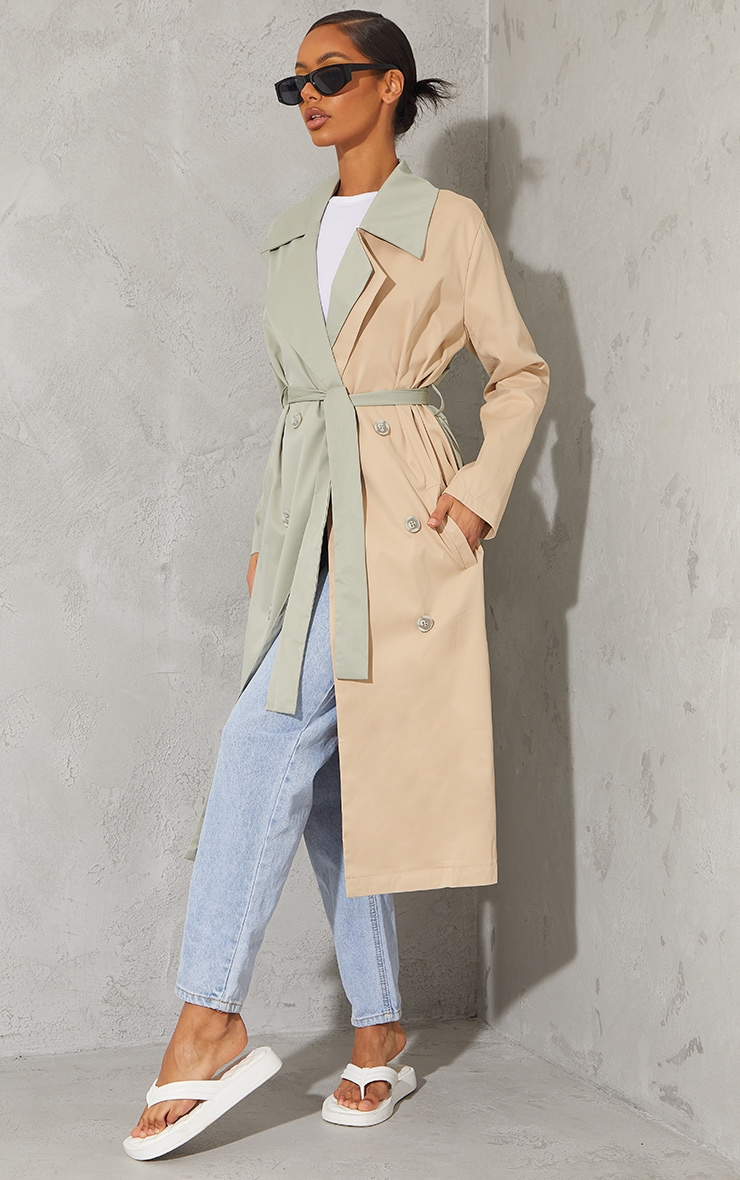 Khaki Woven Contrast Belted Midi Trench image 3