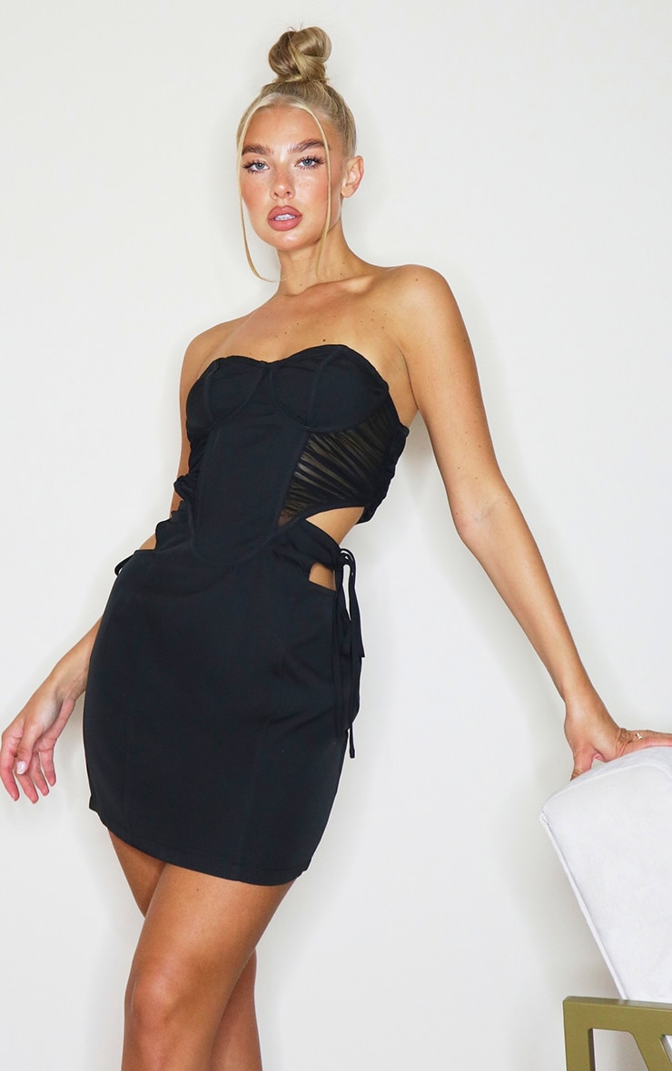 Black Bandeau Binded Corset Cut Out Bodycon Dress 3