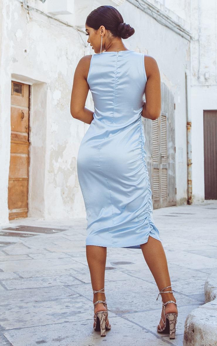 Baby Blue Ruched Satin Midi Dress 2
