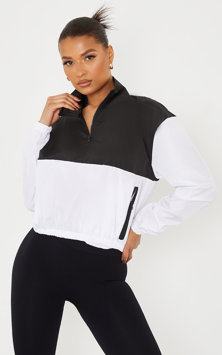 Monochrome Shell Color Panel Front Contrast Zip Cropped Pull Over Tracksuit 3