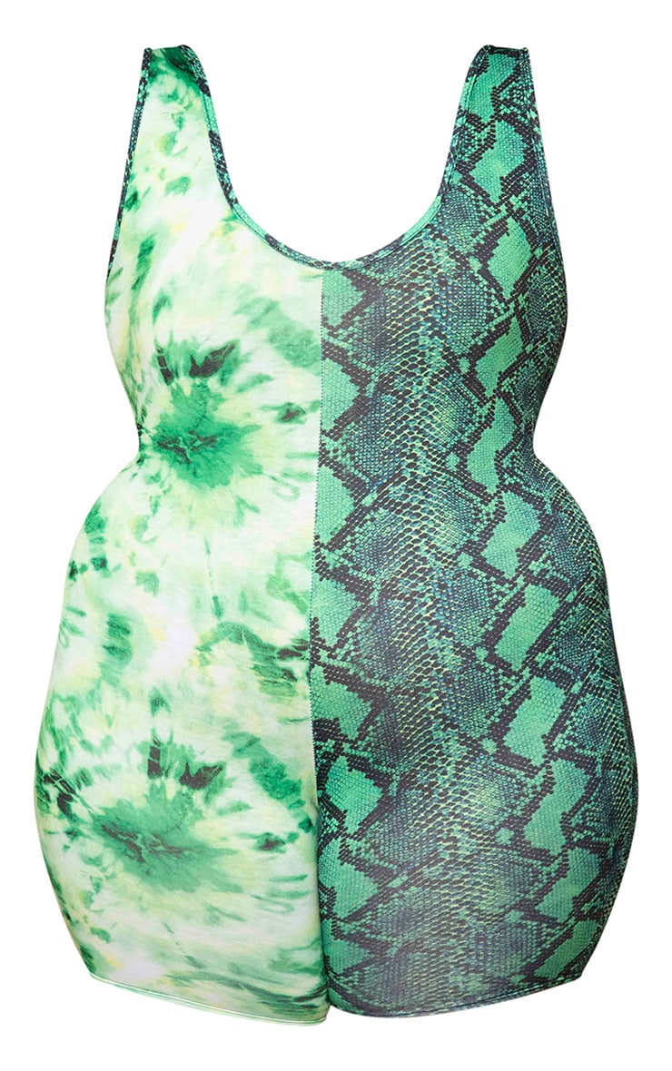 Plus Green Mixed Print Unitard 5