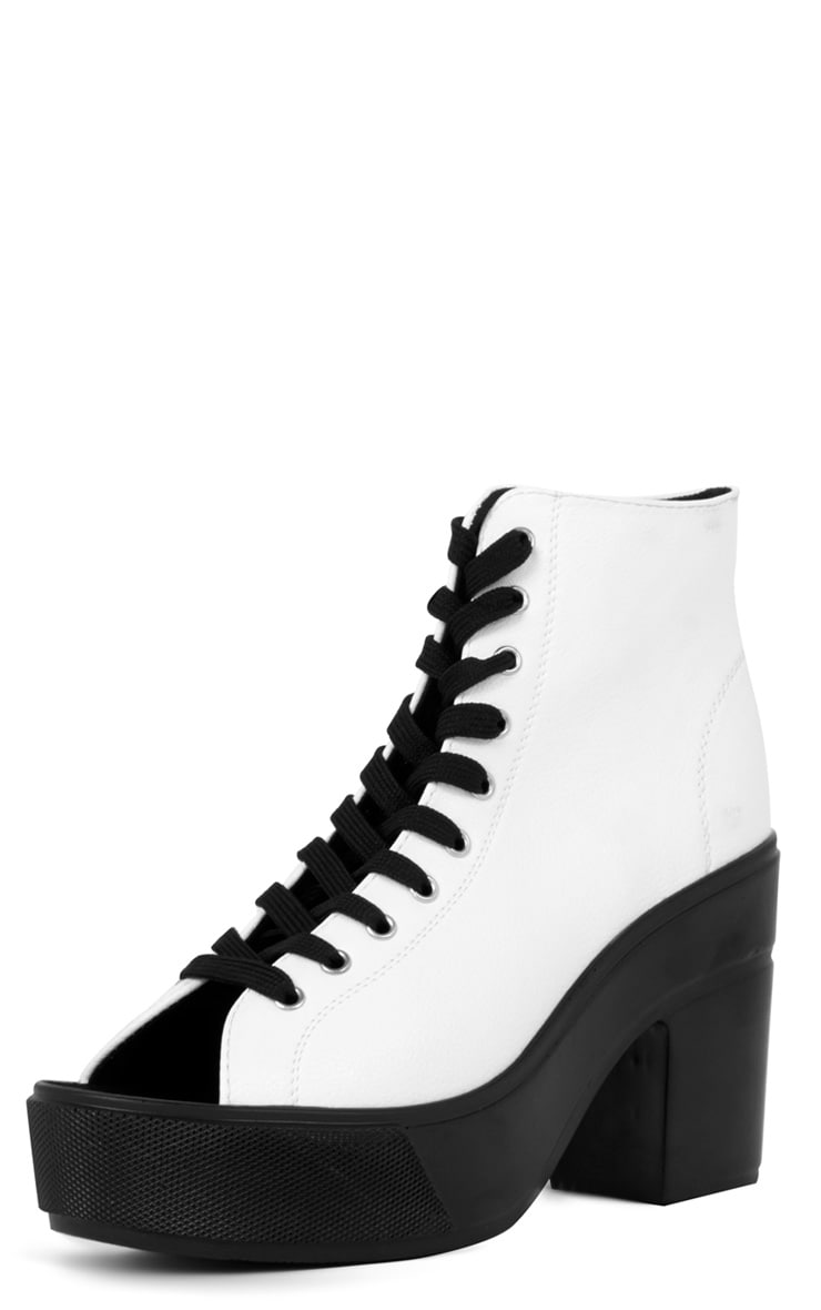 Demi Monochrome Lace Up Peep Toe Boot  2