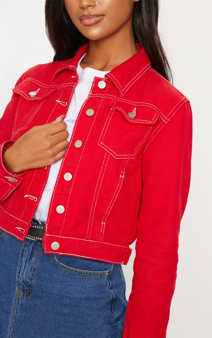 Deep Red Cropped Denim Jacket 5