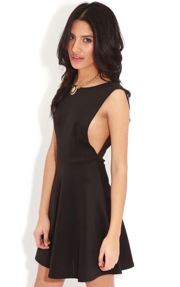 Arianna Black Scuba Side Slit Skater Dress 1