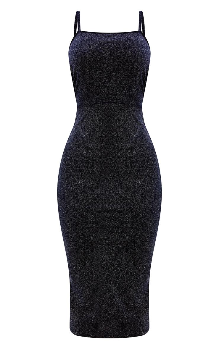 Shape Navy Sparkle Velvet Low Back Dress 3