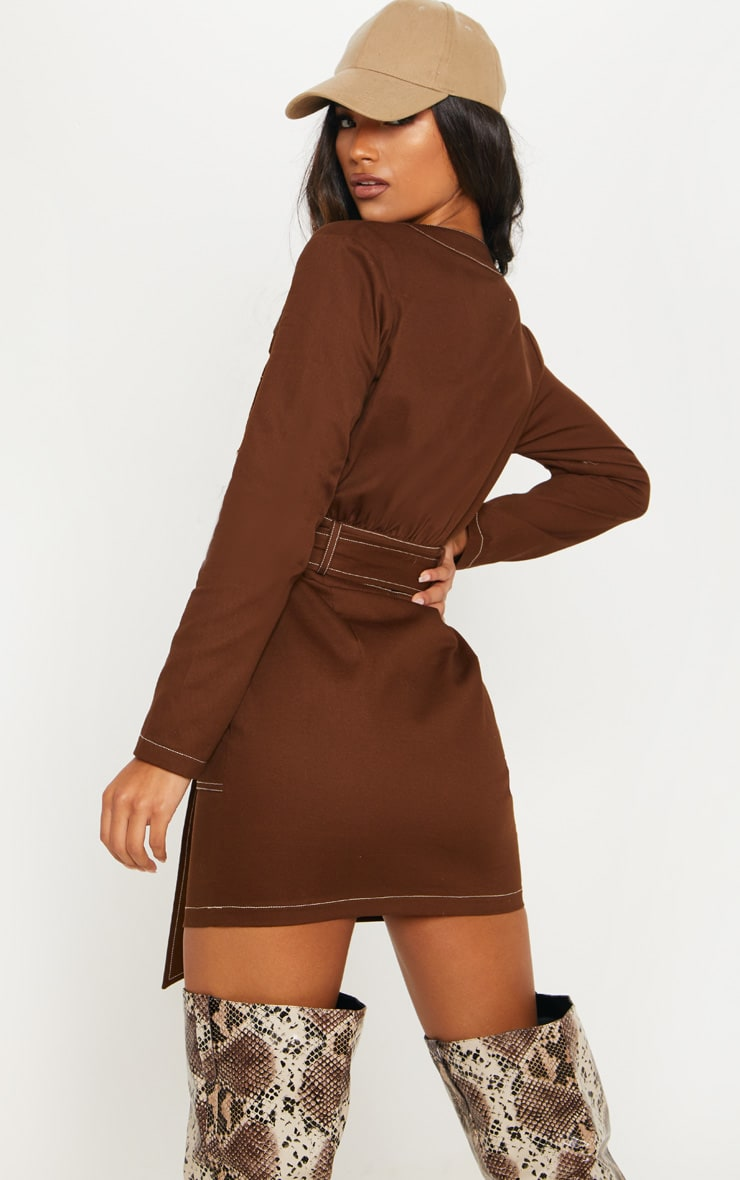 Chocolate Contrast Stitching Utility Bodycon Dress 2