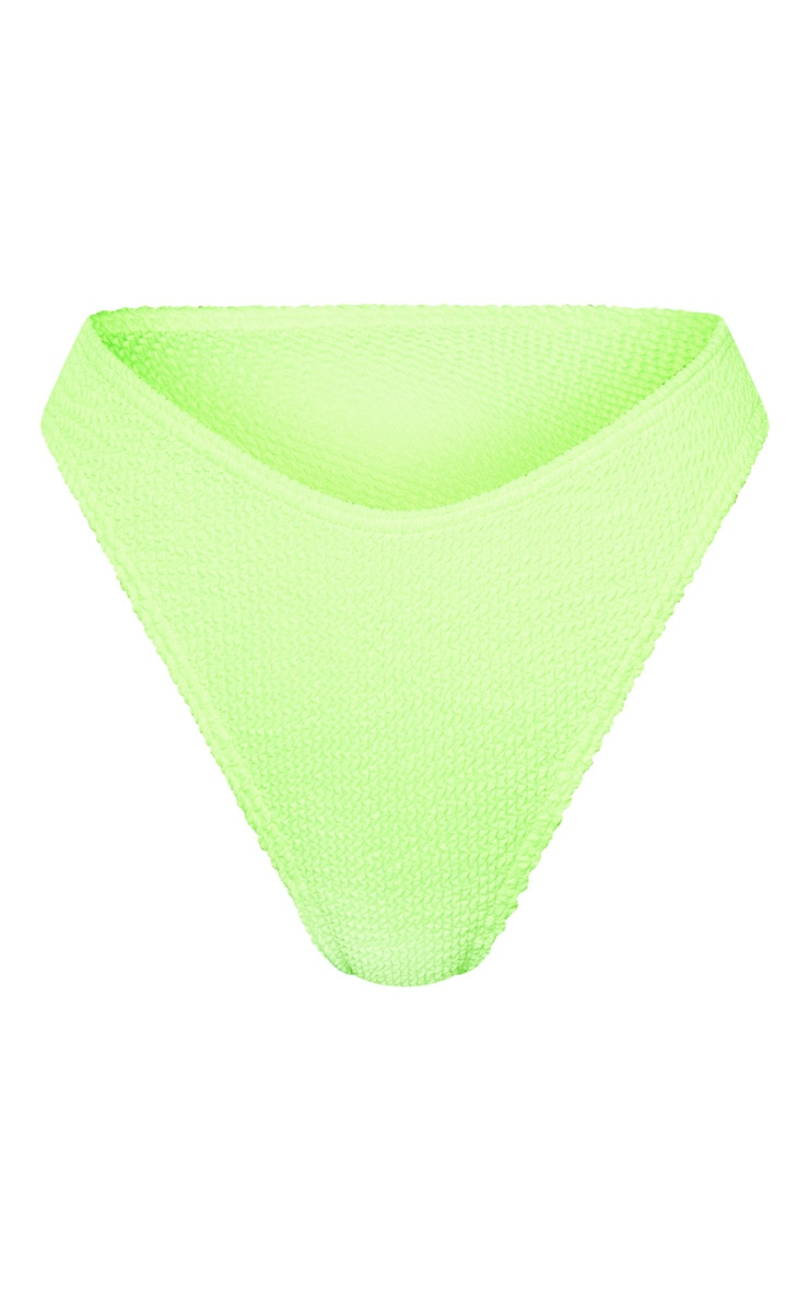 Neon Lime Crinkle Cheeky Bum Bikini Bottom 6