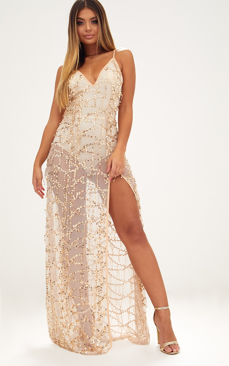 6b63bef666d Gold Sequin Plunge Maxi Dress. Dresses | PrettyLittleThing USA