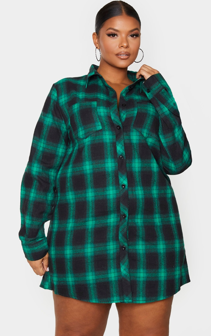 Plus Green Checked Oversized Shirt Dress 1