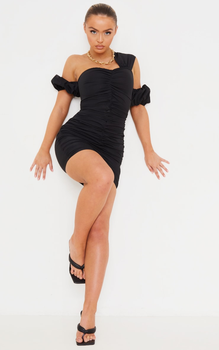 Black Woven Ruched Bardot Detail Bodycon Dress 3