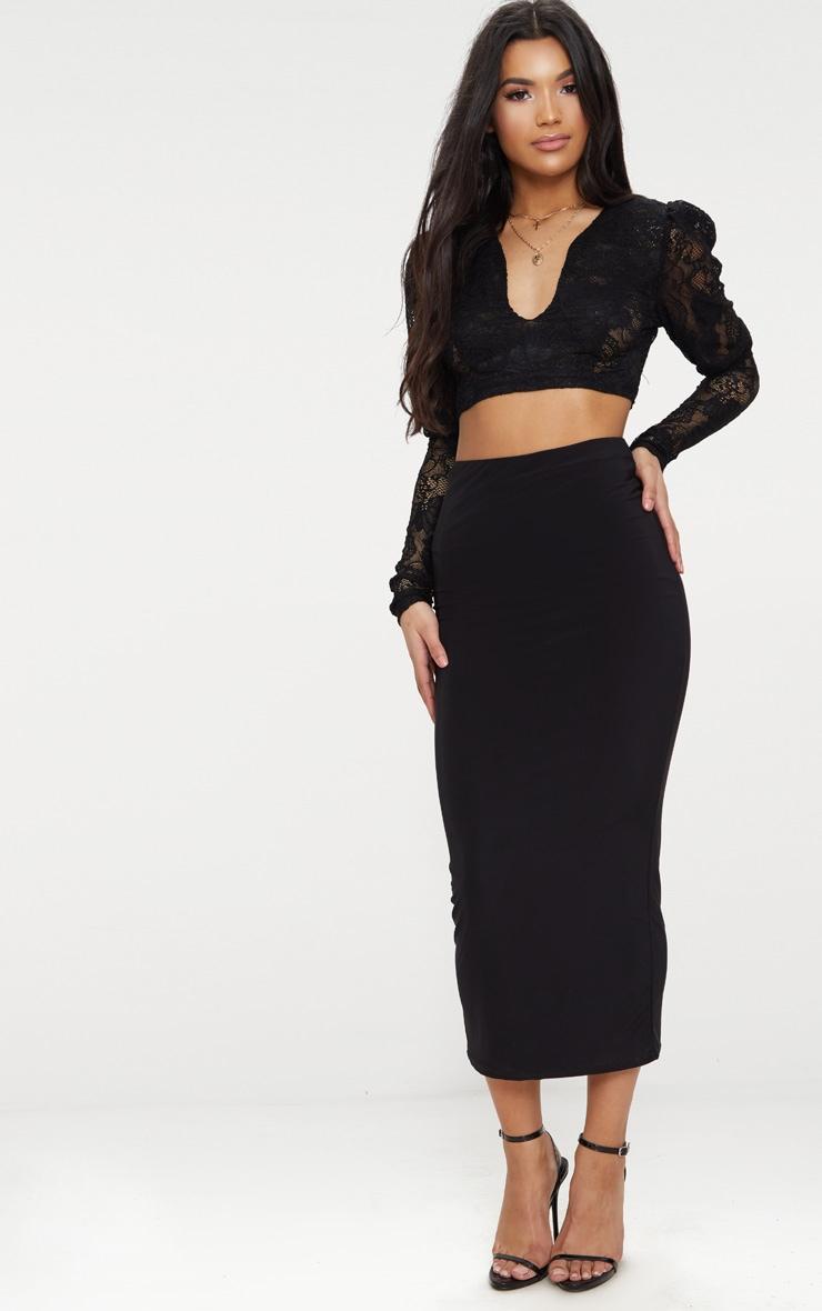 Black Lace Plunge Puff Shoulder Crop Top 4