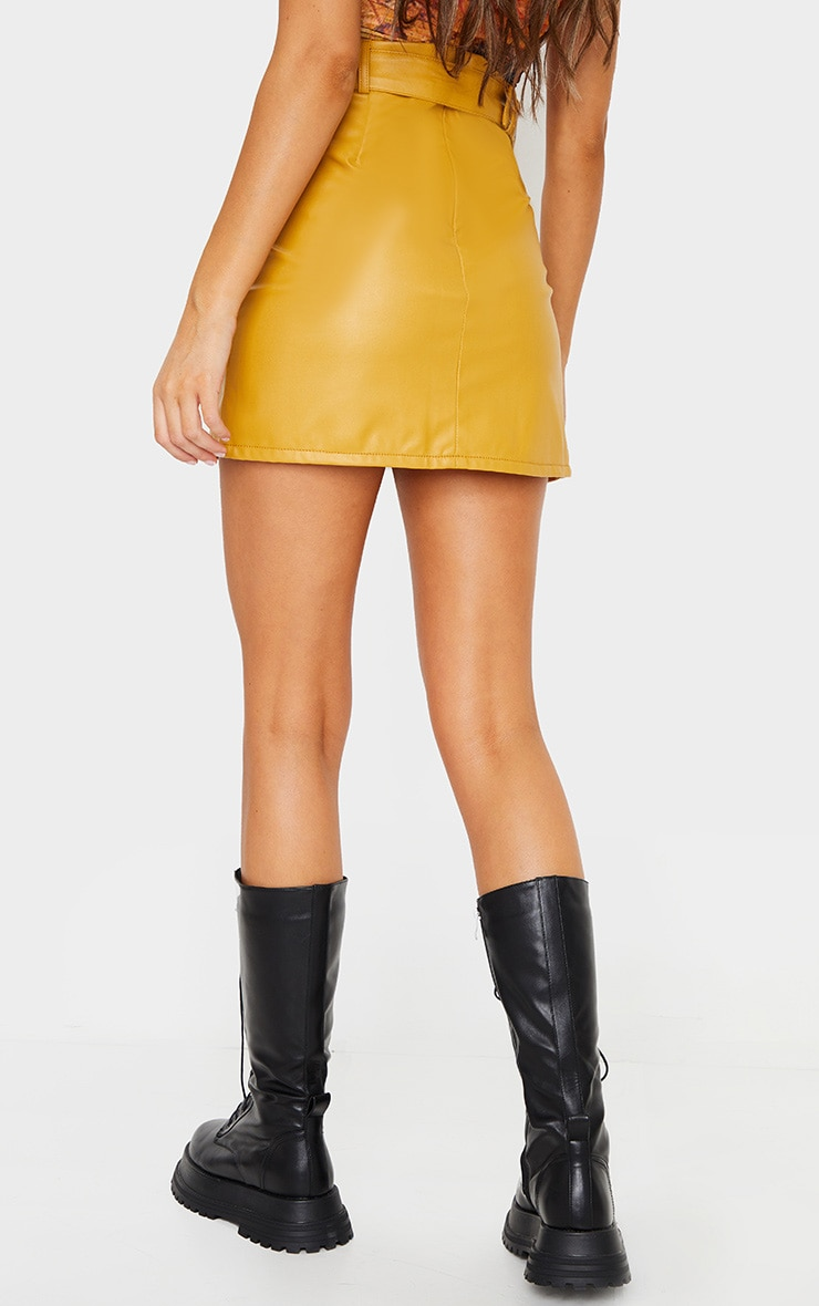 Mustard Faux Leather Belted Mini Skirt 3