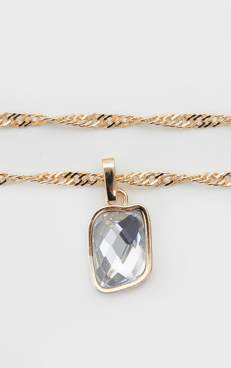 Gold Crystal Gemstone Pendant Necklace 4