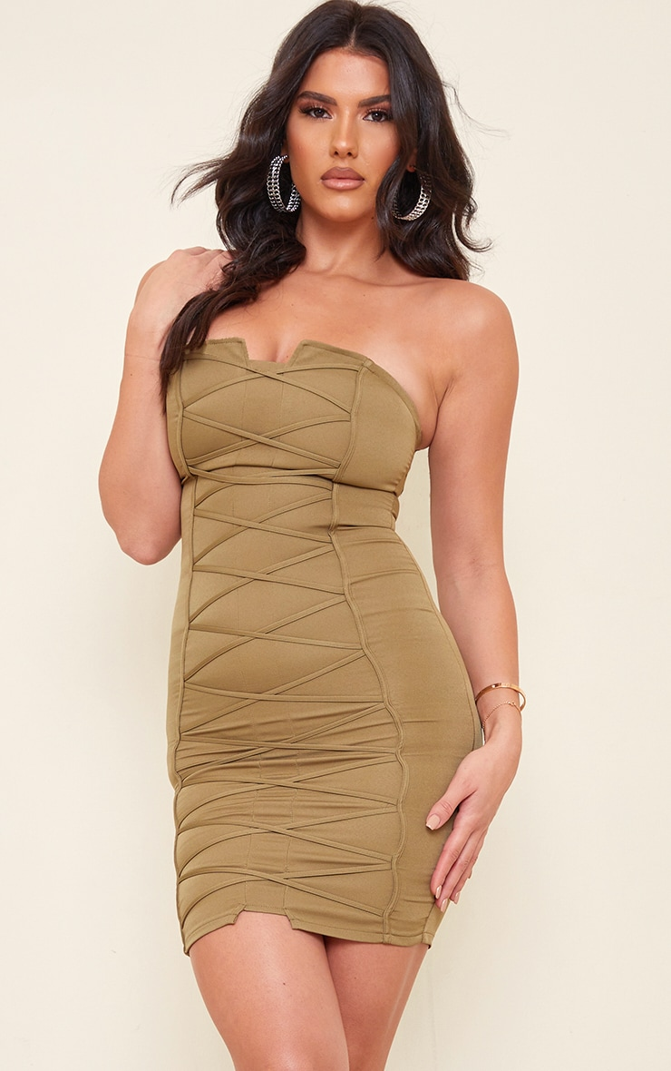 Tall Olive Bandeau Woven Corset Detail Bodycon Dress  1