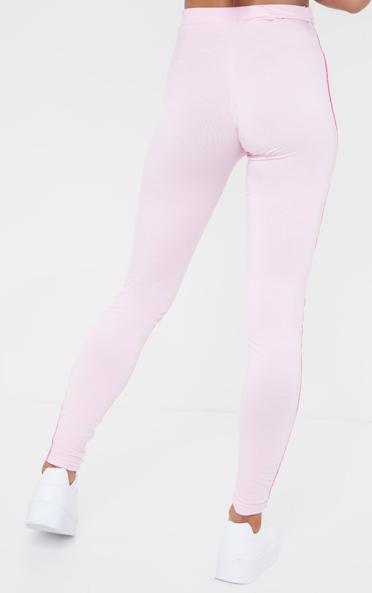 Baby Pink Contrast Stitch Legging 3