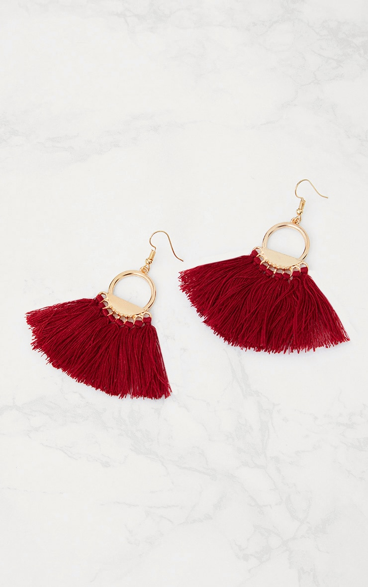 Burgundy Drop Fan Tassel Earrings 3