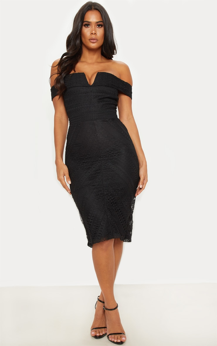a5d0d49f86d2 Black Lace Bardot V Bar Midi Dress image 1