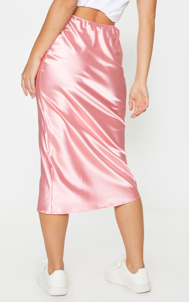Candy Pink Satin Midi Skirt 3