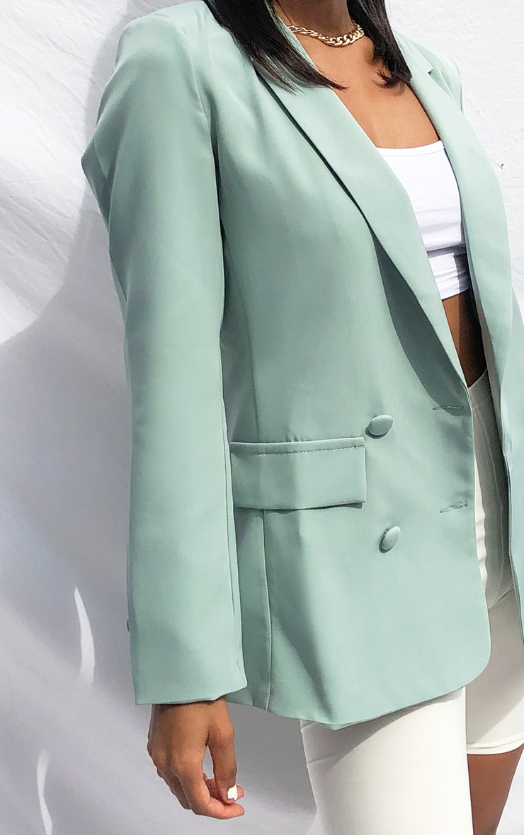 Sage Double Breasted Pocket Detail Woven Blazer 4