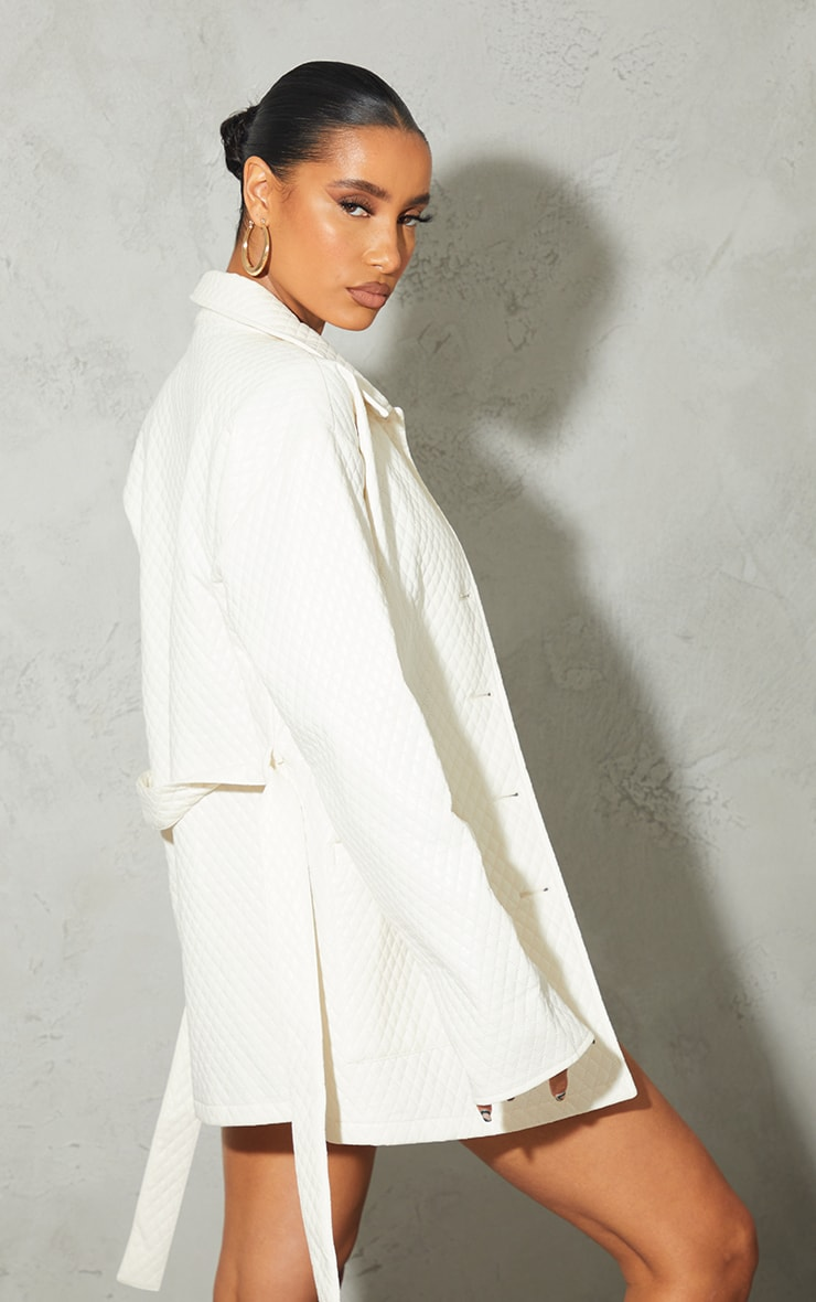 Cream PU Quilted Longline Belted Shacket 2