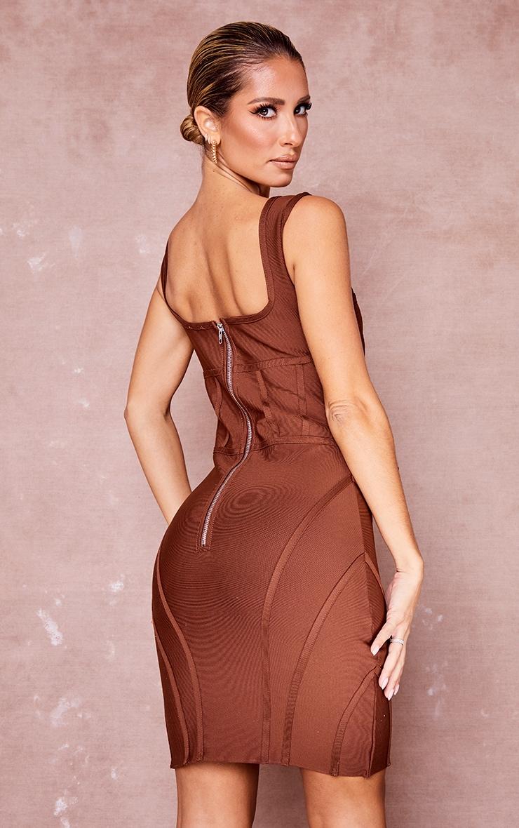 Chocolate Bandage Bust Detail Sleeveless Corset Bodycon Dress 2