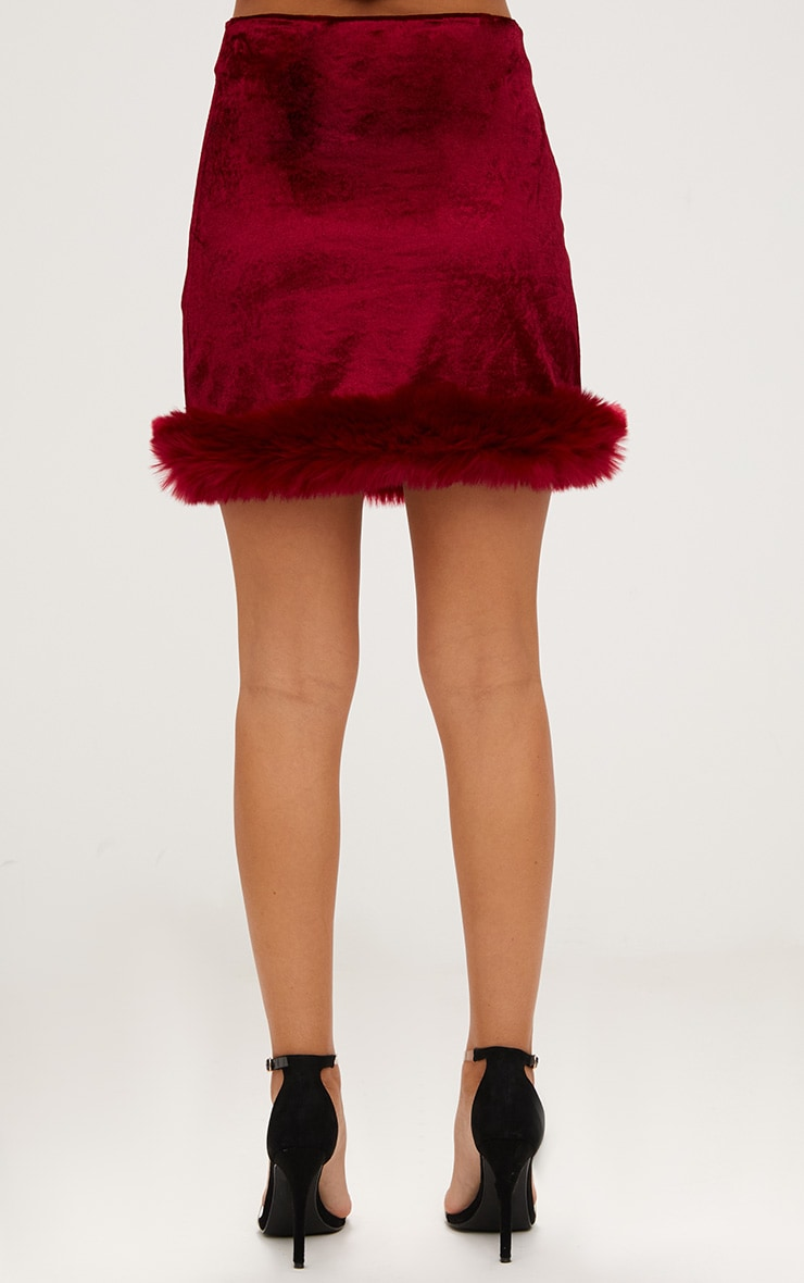 Burgundy Velvet Fur Trim Check Mini Skirt 4