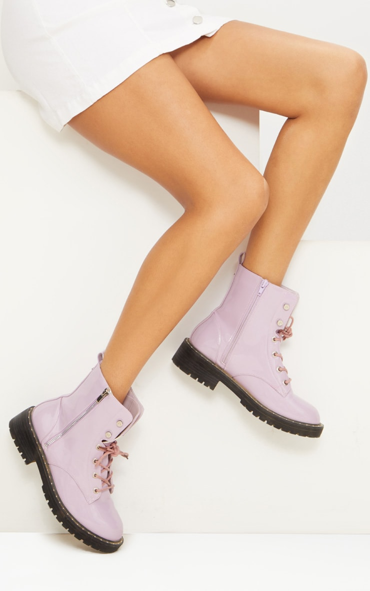 Lilac Chunky Lace Up Boot 1