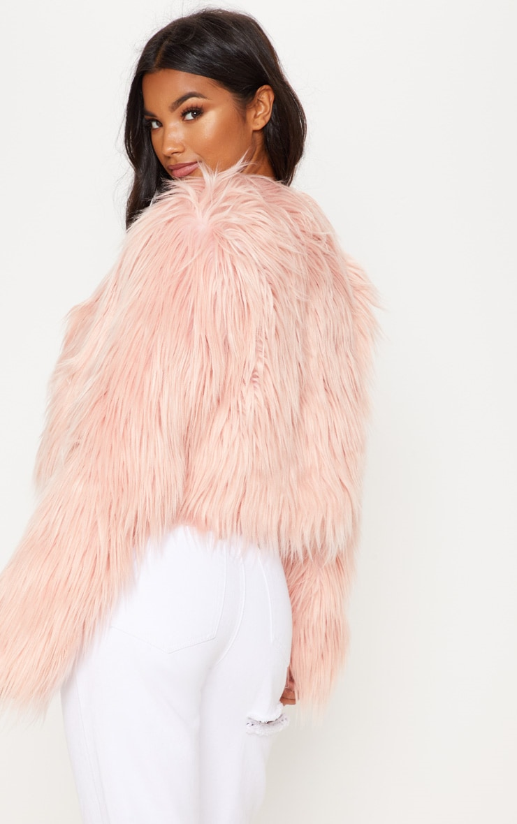 Pink Shaggy Faux Fur Jacket  2